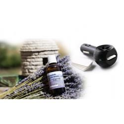 Diffuseur Huile essentielle pour voiture + 50 ml huile essentielle lavandin